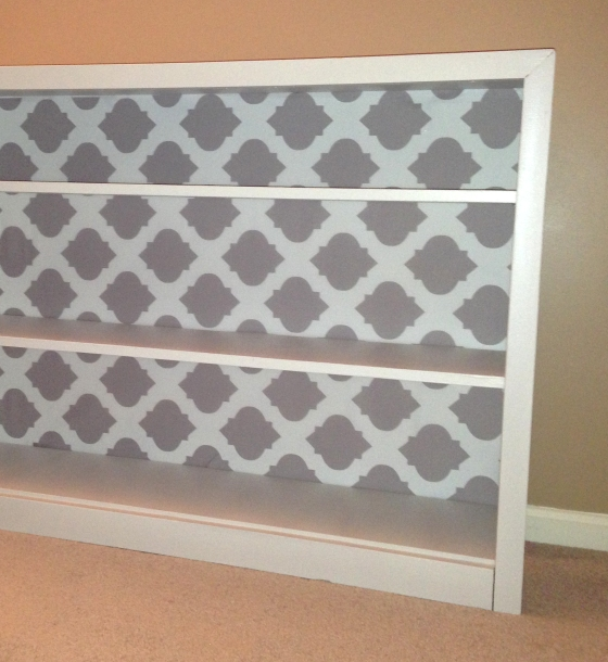 Bookshelf Makeover using KatPhillipsDesigns Fabric