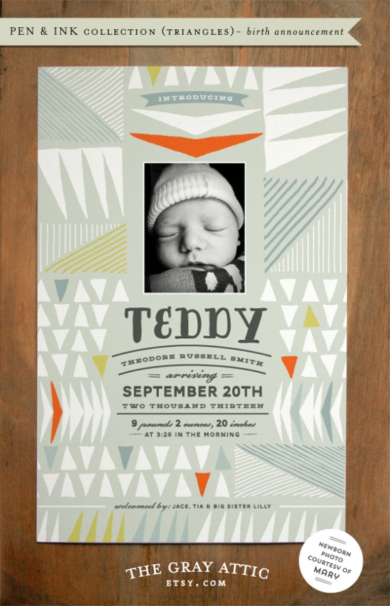 Pen&Ink Triangles, Birth Announcement by Kat Phillips